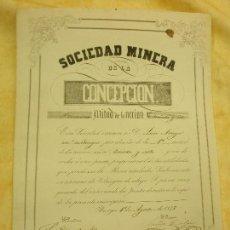 Coleccionismo Acciones Españolas: SOCIEDAD MINERA DE LA CONCEPCIÓN. . Lote 104089147