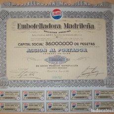 Coleccionismo Acciones Españolas: ACCIÓN DE EMBOTELLADORA MADRILEÑA. PEPSI-COLA. MADRID.1962. Lote 117369491
