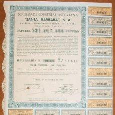 Colecionismo Ações Espanholas: METALÚRGICA Y MINERA SANTA BÁRBARA. OVIEDO-ASTURIAS. 1961. Lote 117923415