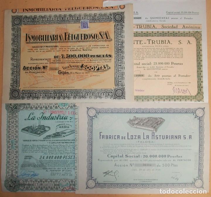 LOTE DE 4 ACCIONES DE ASTURIAS: GIJÓN Y TRUBIA (OVIEDO) (Coleccionismo - Acciones Españolas)