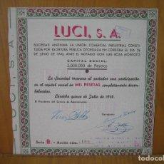 Coleccionismo Acciones Españolas: ACCION LUSI S. A. CÓRDOBA 1940.1000 PTS. Lote 118374023