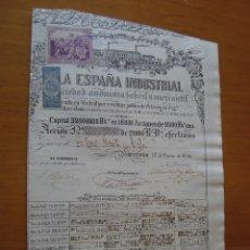 Coleccionismo Acciones Españolas: LA ESPANA INDUSTRIAL S.A. FABRIL Y MERCANTIL, ACCION, 2.000 REALES, BARCELONA, 1854. Lote 119007592