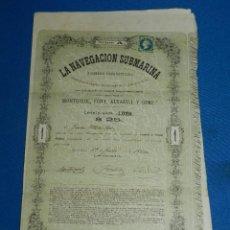 Coleccionismo Acciones Españolas: ACCION ORIGINAL ICTINEO LA NAVEGACION SUBMARINA , NARCISO MONTURIOL MAYO 1864 ( ORIGINAL ). Lote 120626471