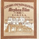 Coleccionismo Acciones Españolas: ESTUDIOS CINEMATOGRÁFICOS ORPHEA FILM, 1942. Lote 120672311