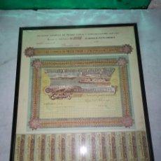 Coleccionismo Acciones Españolas: PRECIOSA POLIZA, ACCIONES DE CONSTRUCCIONES GARCHEY, SAN SEBASTIAN 1904, ENMARCADA, 48 * 66,5 CMS.. Lote 121293663