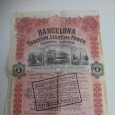 Coleccionismo Acciones Españolas: ACCION BARCELONA. TRACTION, LIGHT AND POWER. COMPANY LIMITED. AÑO 1923.. Lote 121881651