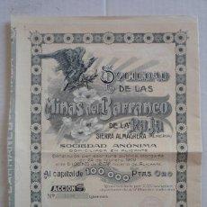 Coleccionismo Acciones Españolas: ALMERIA. SDAD. DE LAS MINAS DEL BARRANCO DE LA RAJA, EN SIERRA ALMAGRERA. AÑO 1909. Lote 122126159