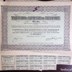 Coleccionismo Acciones Españolas: ACCIÓN Nº 090152 - MAQUINARIA Y ELEMENTOS DE TRANSPORTE, S.A - AÑO 1962 -. Lote 122283447