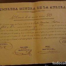 Coleccionismo Acciones Españolas: EMPESA MINERA DE LA AURORA. ACCIÓN MINA. CÓRDOBA 1845. Lote 122446099