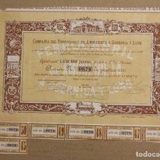 Colecionismo Ações Espanholas: ACCION COMPAÑIA DEL FERROCARRIL DE AMOREBIETA, GUERNICA Y LUNO. BILBAO, 1 DE JUNIO DE 1888. Lote 184350398