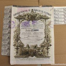 Coleccionismo Acciones Españolas: ACCION COMPAÑIA GENERAL DE TABACOS DE FILIPINAS. BARCELONA, 1 DE ENERO DE 1882. Lote 122754867