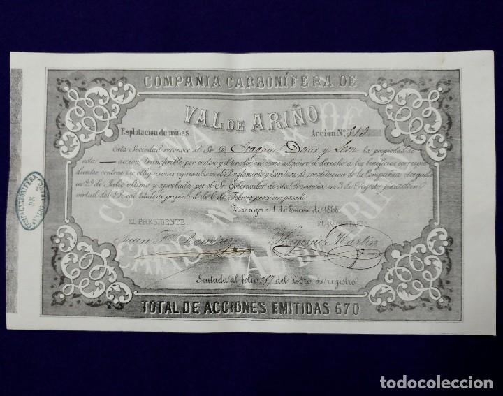 ACCIÓN DE LA COMPAÑÍA CARBONÍFERA DE VAL DE ARIÑO (ZARAGOZA) 1868. EXPLOTACIÓN DE MINAS. (Coleccionismo - Acciones Españolas)