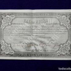 Coleccionismo Acciones Españolas: ACCIÓN DE LA COMPAÑÍA CARBONÍFERA DE VAL DE ARIÑO (ZARAGOZA) 1868. EXPLOTACIÓN DE MINAS.. Lote 123343631