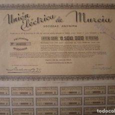 Coleccionismo Acciones Españolas: MADRID 1944. UNIÓN ELÉCTRICA DE MURCIA. OBLIGACION DE 1000 PESETAS. CONSERVA CUPONES. . Lote 127748575