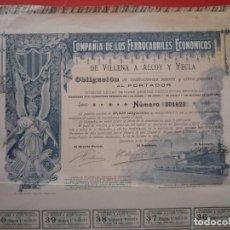 Coleccionismo Acciones Españolas: BARCELONA 1902. CIA. DE LOS FERROCARRILES ECONÓMICOS DE VILLENA Á ALCOY Y YECLA.. Lote 123804579