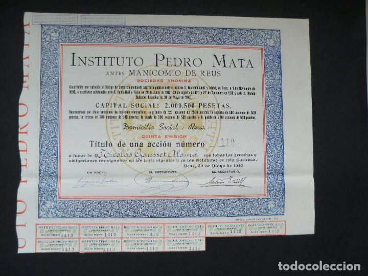 ACCION INSTITUTO PEDRO MATA DE REUS - QUINTA EMISIÓN - 1940 (Coleccionismo - Acciones Españolas)