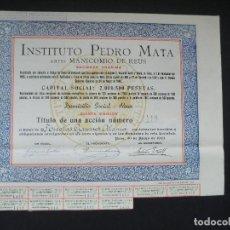 Coleccionismo Acciones Españolas: ACCION INSTITUTO PEDRO MATA DE REUS - QUINTA EMISIÓN - 1940. Lote 124180359
