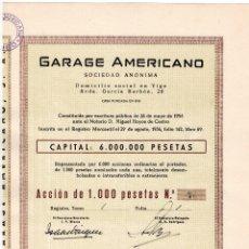 Coleccionismo Acciones Españolas: ACCION 1000 PTAS. GARAGE AMERICANO. VIGO GALICIA 1956 ACCIONES. Lote 124635391