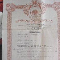 Coleccionismo Acciones Españolas: CENTRAL DE AHORROS S.A. TITULO DE CREDITO Y AHORRO. Lote 125049679