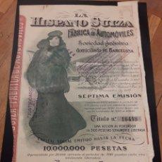 Coleccionismo Acciones Españolas: ACCIÓN LA HISPANO SUIZA (SÉPTIMA EMISIÓN) 1918. Lote 125236392