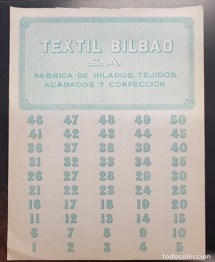 Coleccionismo Acciones Españolas: TEXTIL BILBAO SA 27 de DICIEMBRE de 1946 HILADOS TEJIDOS CONFECCION 500 PESETAS ACCION CON CUPONES - Foto 2 - 125419535