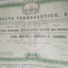 Colecionismo Ações Espanholas: ACCION DE FARMACIA.ACCION ORDINARIA Y NOMINATIVA HUELVA FARMACEUTICA,S.A. 1981.VER FOTO. Lote 125926580