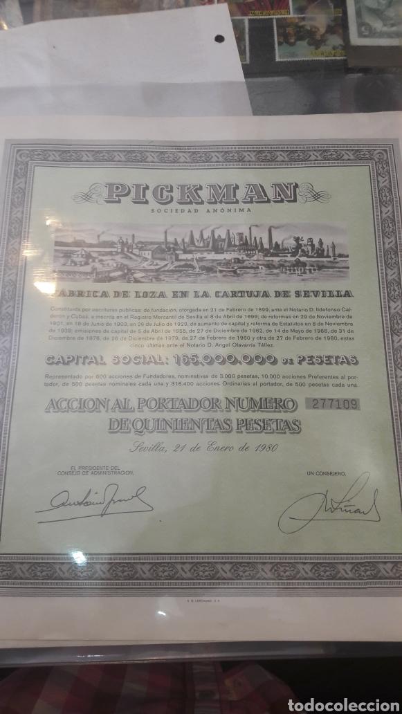 1980 PICKMAN CIA ACCIONES 500 PTAS (Coleccionismo - Acciones Españolas)