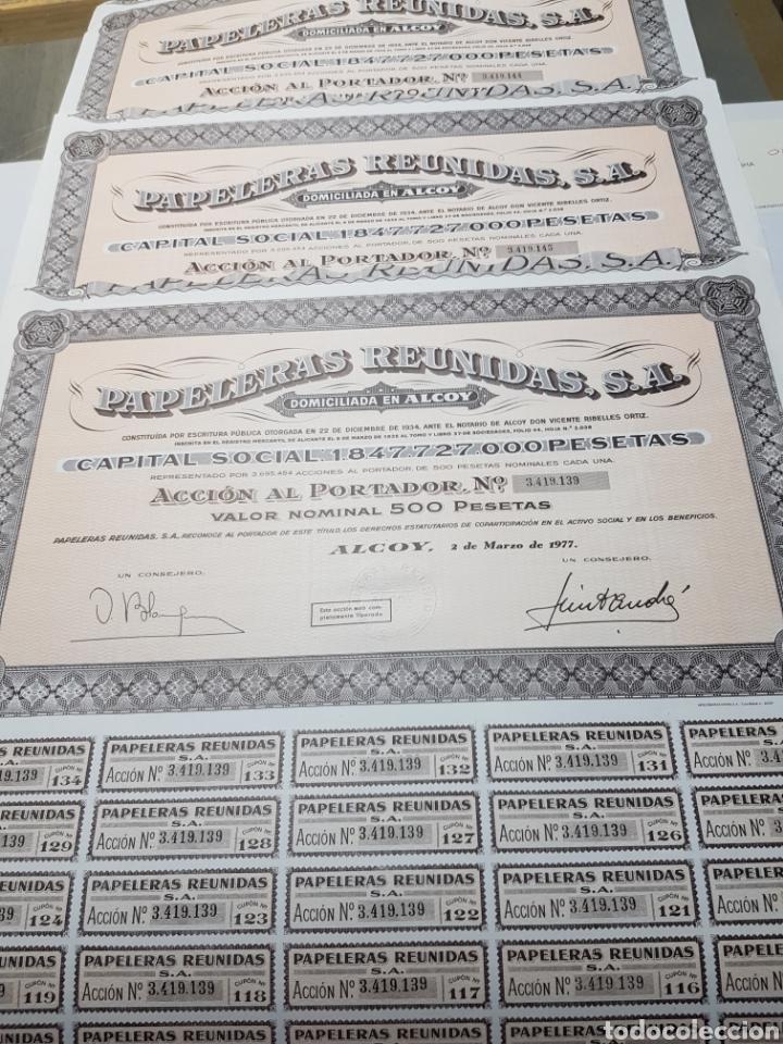 ACCION DE PROPIEDAD LOTE 3 PAPELERAS REUNIDAS (Coleccionismo - Acciones Españolas)