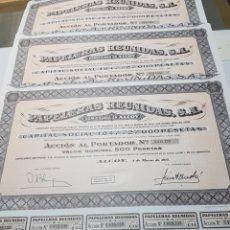 Coleccionismo Acciones Españolas: ACCION DE PROPIEDAD LOTE 3 PAPELERAS REUNIDAS. Lote 127545254