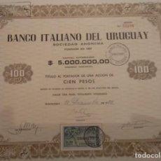 Coleccionismo Acciones Españolas: BANCO ITALIANO DEL URUGUAY 1953. Lote 127799371