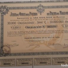 Coleccionismo Acciones Españolas: JUNTA DE OBRAS DEL PUERTO DE PALMA DE MALLORCA 1956. Lote 139180909