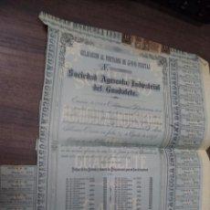 Coleccionismo Acciones Españolas: OBLIGACION AL PORTADOR DE 500 PESETAS. SOCIEDAD AGRICOLA INDUSTRIAL DEL GUADALETE. Nº 576. 1898.. Lote 127822591