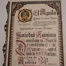 Coleccionismo Acciones Españolas: CERVEZA EL AGUILA S.A. 1955. Lote 128059423