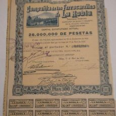 Coleccionismo Acciones Españolas: COMPAÑIA DE FERROCARRILES DE LA ROBLA 1928. Lote 139128441