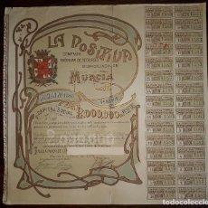 Coleccionismo Acciones Españolas: MURCIA LA POSITIVA COMPAÑIA ANÓNIMA SEGUROS MURCIA ENERO 1.904. Lote 128084907