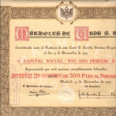 Coleccionismo Acciones Españolas: DOS ACCIONES DE 500 PTAS. DE MÁRMOLES DE URDA, S.A. (1923). Lote 179264156