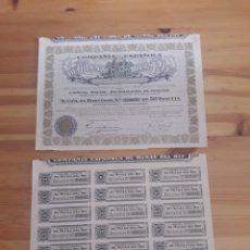Coleccionismo Acciones Españolas: ACCION COMPAÑIA ESPAÑOLA MINAS DEL RIF Y CUPONES 1935. Lote 129066591
