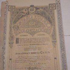 Coleccionismo Acciones Españolas: COMPAÑÍA ESPAÑOLA DE COLONIZACIÓN 1916. Lote 129097271