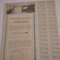 Coleccionismo Acciones Españolas: SOCIEDAD MINERA DE VILLAODRID 1921. Lote 129109991