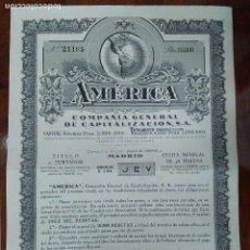 Coleccionismo Acciones Españolas: COMPAÑIA GENERAL DE CAPITALIZACION S.A. 1940, CON CARATULA DE CARTON CON EL NUMERO, 10.000 PESETAS,. Lote 129218535