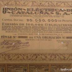 Coleccionismo Acciones Españolas: UNION ELECTRICA DE CATALUÑA, S,A, 1923. Lote 133868997