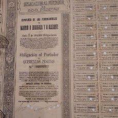 Coleccionismo Acciones Españolas: COMPAÑÍA DE LOS FERROCARRILES DE MADRID A ZARAGOZA Y ALICANTE SERIE I 1924 . Lote 129328819