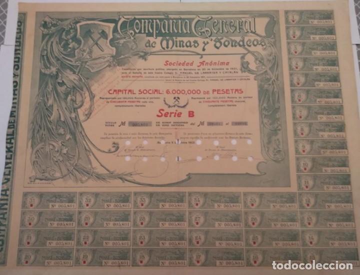COMPAÑÍA GENERAL DE MINAS Y SONDEOS, S.A. SERIE B 1905 (Coleccionismo - Acciones Españolas)