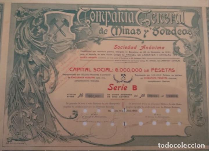 Coleccionismo Acciones Españolas: COMPAÑÍA GENERAL DE MINAS Y SONDEOS, S.A. SERIE B 1905 - Foto 2 - 132250122