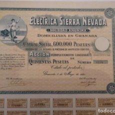 Coleccionismo Acciones Españolas: ELECTRICA SIERRA NEVADA, S.A. 1940. Lote 139132714