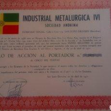 Coleccionismo Acciones Españolas: TÍTULO DE ACCIÓN AL PORTADOR DE INDUSTRIAL METALÚRGICA IVI, S. A.. Lote 209012498