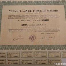 Coleccionismo Acciones Españolas: NUEVA PLAZA DE TOROS DE MADRID, S.A. 1953. Lote 129562103