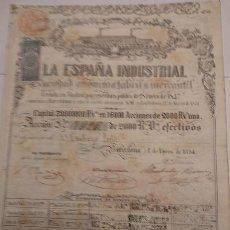 Coleccionismo Acciones Españolas: LA ESPAÑA INDUSTRIAL S.A. FABRIL Y MERCANTIL 1854. Lote 129565647