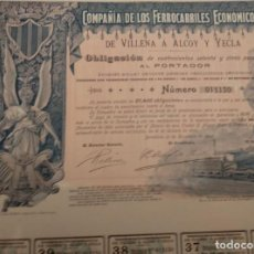 Coleccionismo Acciones Españolas: COMPAÑÍA DE LOS FERROCARRILES ECONÓMICOS DE VILLENA A ALCOY Y YECLA 1902. Lote 129698187