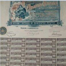 Coleccionismo Acciones Españolas: COMPAÑÍA MADRILEÑA DE ALMACENES GENERALES DE DEPOSITO Y TRANSPORTES 1906. Lote 130527338